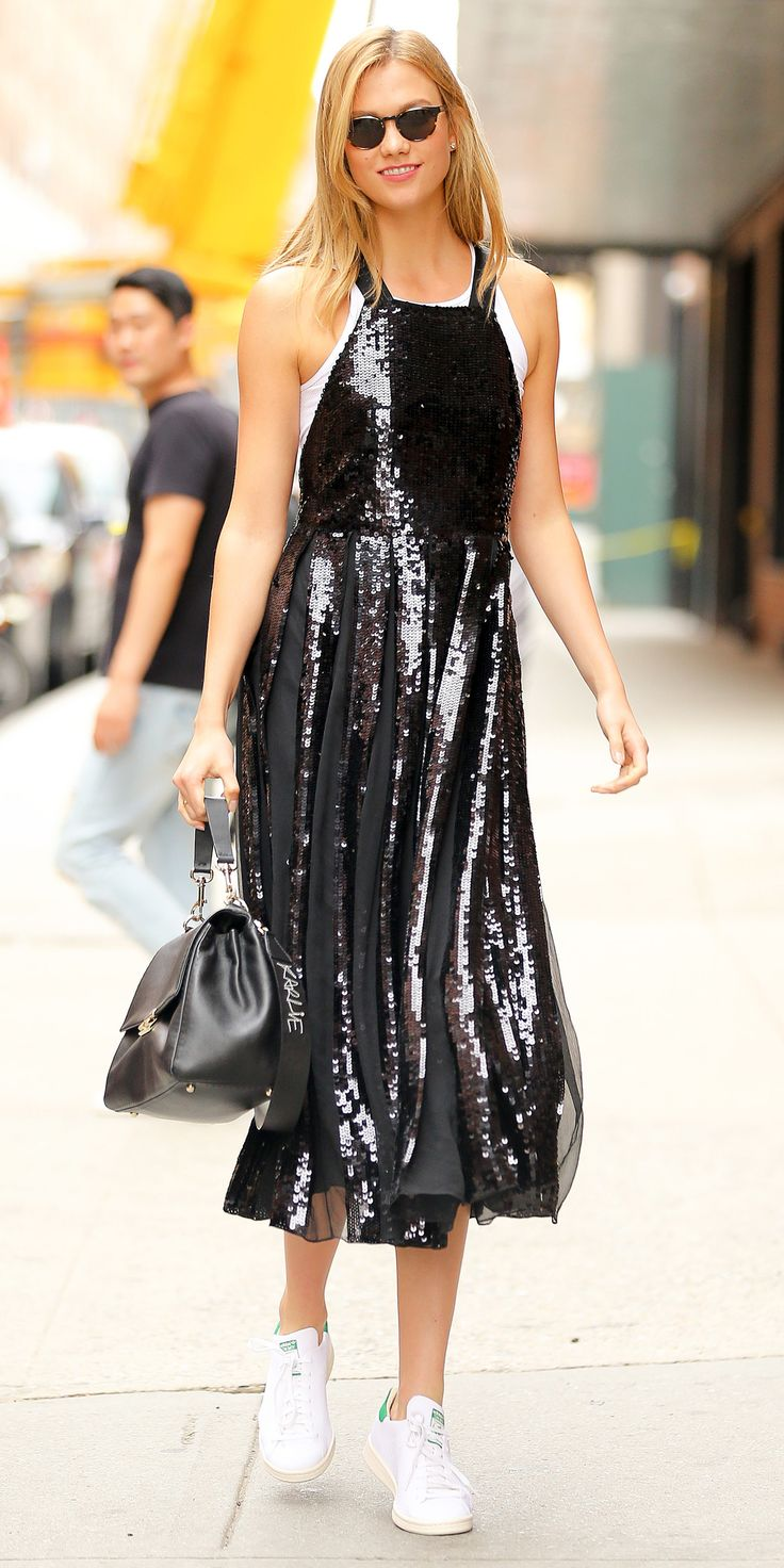 EXCLUSIVE: Karlie Kloss spotted wearing a Black Sequin Party Dress while out and about in New York City. Pictured: Karlie Kloss Ref: SPL1318431  130716   EXCLUSIVE Picture by: Felipe Ramales / Splash News Splash News and Pictures Los Angeles:310-821-2666 New York:	212-619-2666 London:	870-934-2666 photodesk@splashnews.com