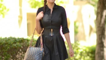 black-express-shirt-dress-bcbg-corset-belt-chanel-vintage-quilted-bag
